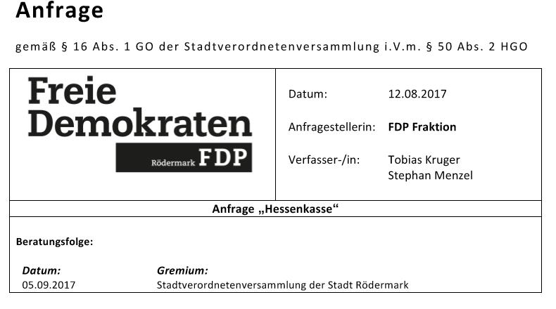Anfragen FDP oedermark.